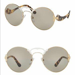 BNIB Prada Catwalk Round Gold Brown Sunglasses